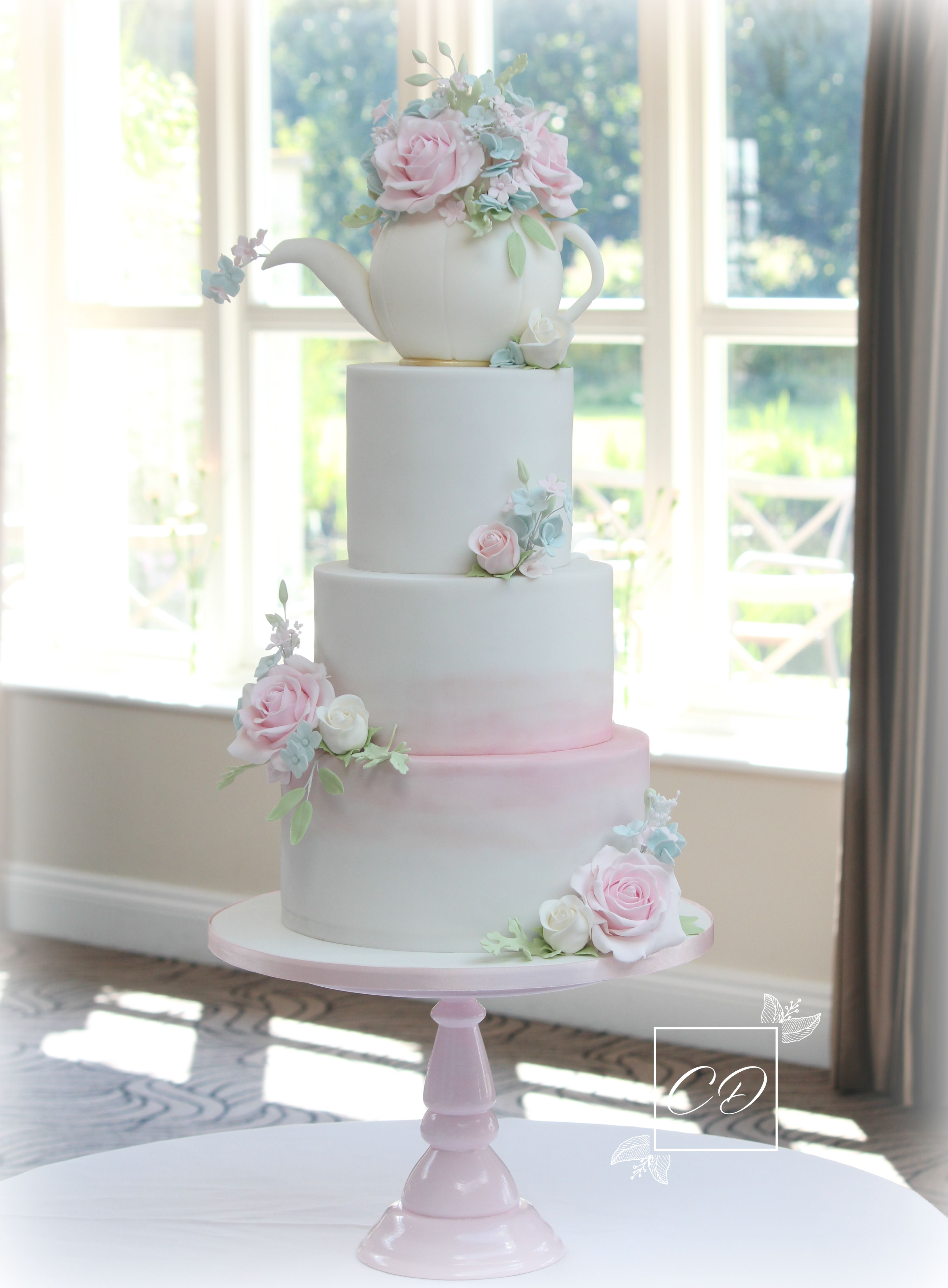 Three Tier Wedding Cake With Teapot Topper And Pastel Sugar Flowers By Www Cookiedelicious Co Uk Weddingcake Threetier