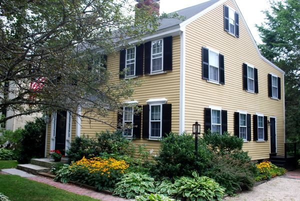Yellow House Black Door yellow colonial black shutters - google search | home exterior