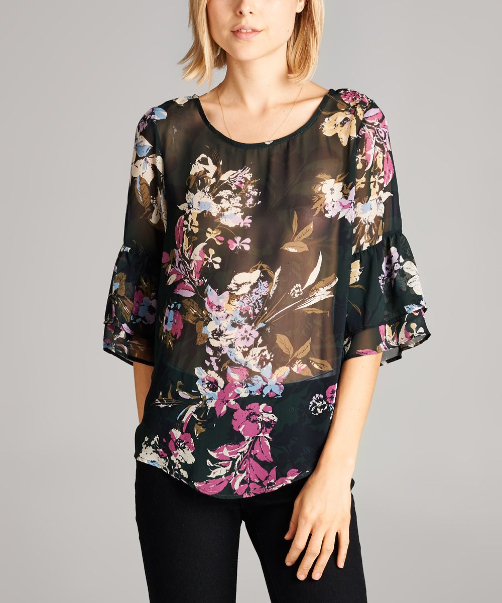 5f3c2207c4 Black   Pink Sheer Floral Top