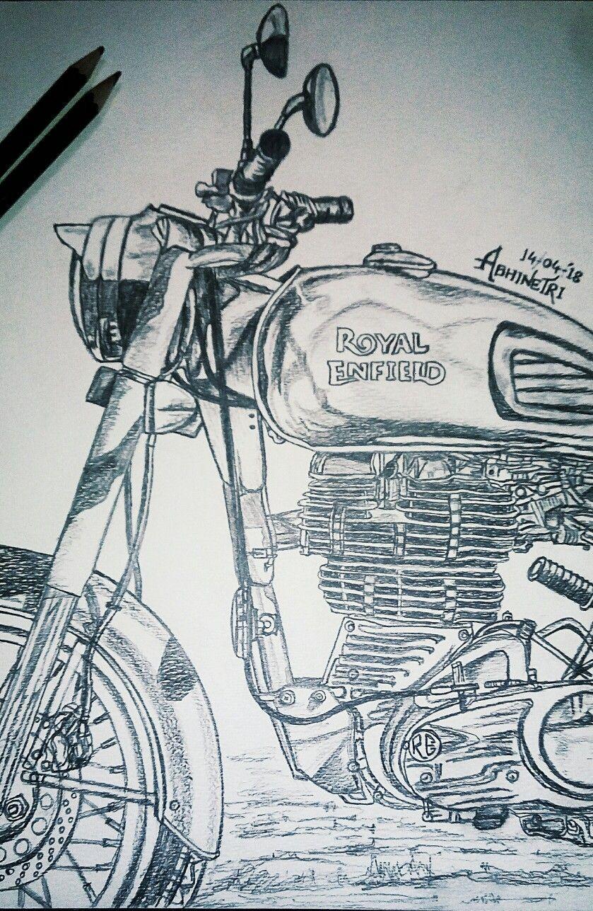 Love For Royal Enfield By Abhinetri Madinkar Bike Drawing Bike