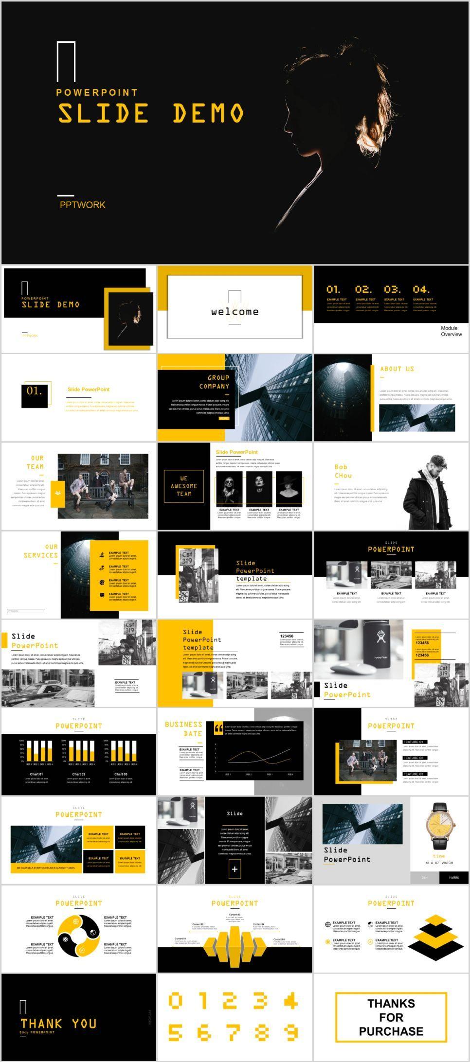 Yellow black data analysis PowerPoint template