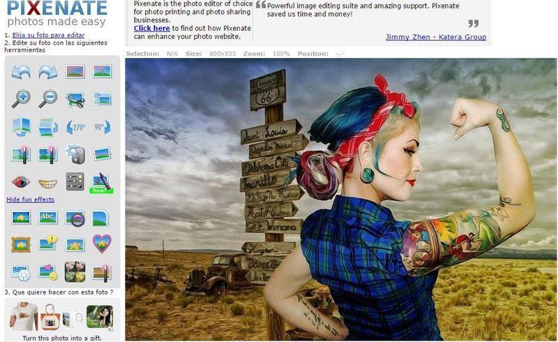 Pixenate - editor de imágenes online