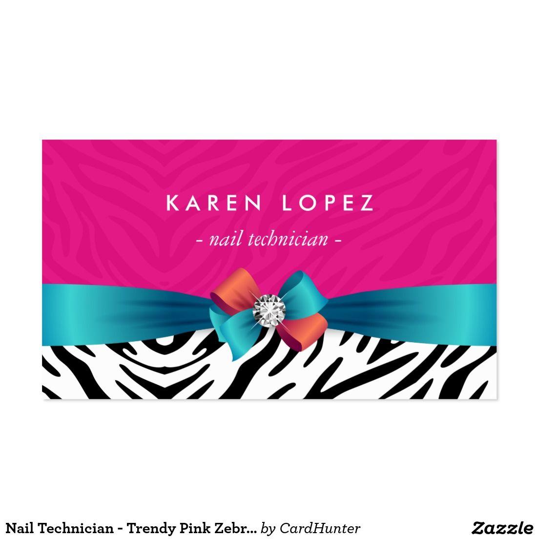 Nail Technician - Trendy Pink Zebra Print Business Card | Business ...