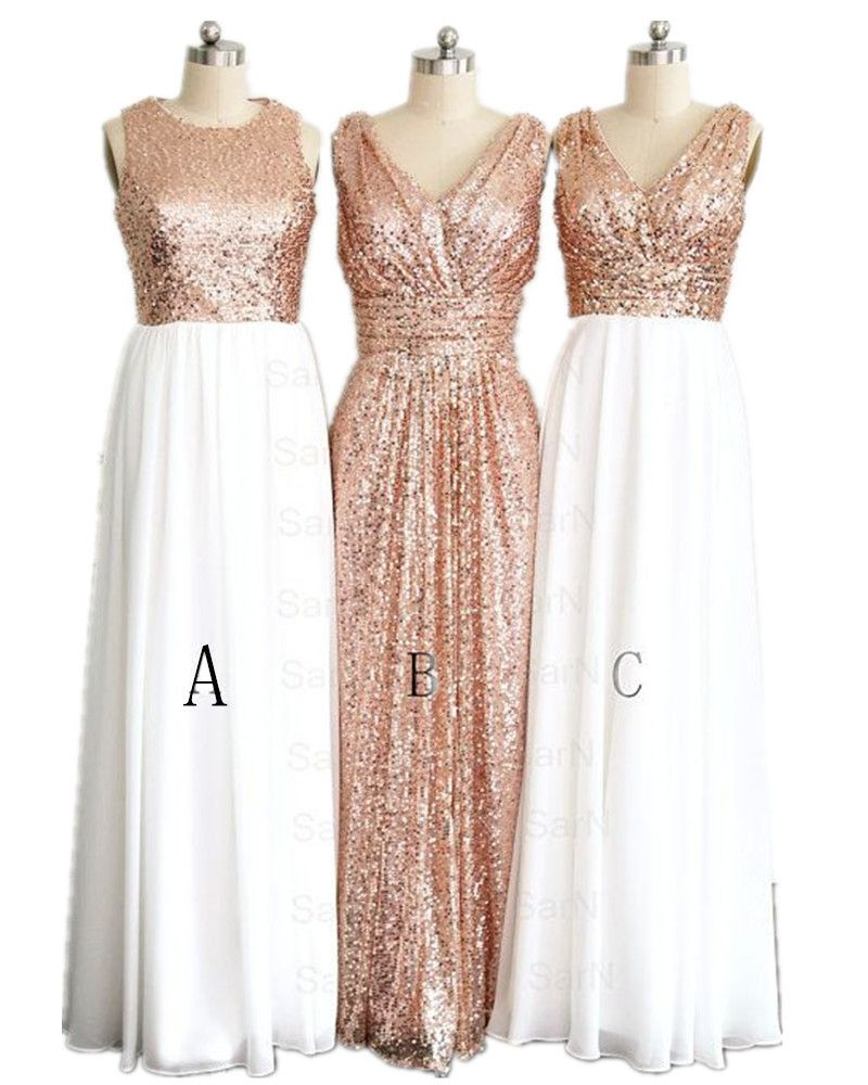 Hot Sale 3 Styles Rose Gold Bridesmaid Dresses Plus Size Hand Made Maid Of  Honor Gowns 2016 New 1102d48928ba
