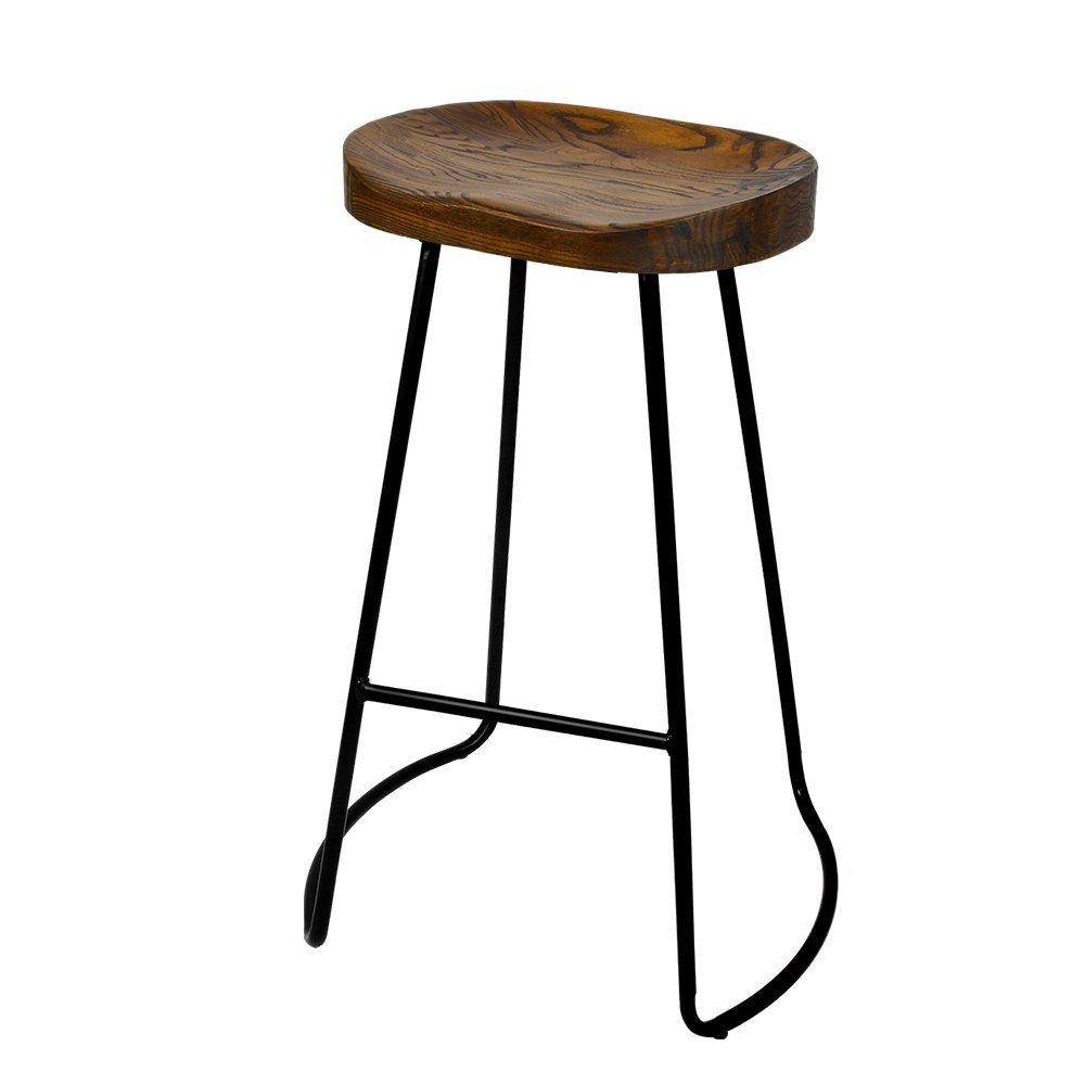 Artiss Set Of 2 Wooden Backless Bar Stools Black Backless Bar