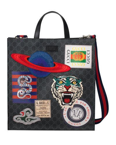 e6f71a3c38060f GUCCI MEN'S GG SUPREME TOTE BAG WITH PATCHES. #gucci #bags #tote #leather  #lining #linen #hand bags #cotton #