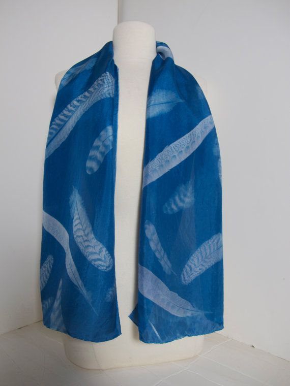 Falling Feathers Cyanotype Silk Scarf By Handmadeonpeconicbay 125 00