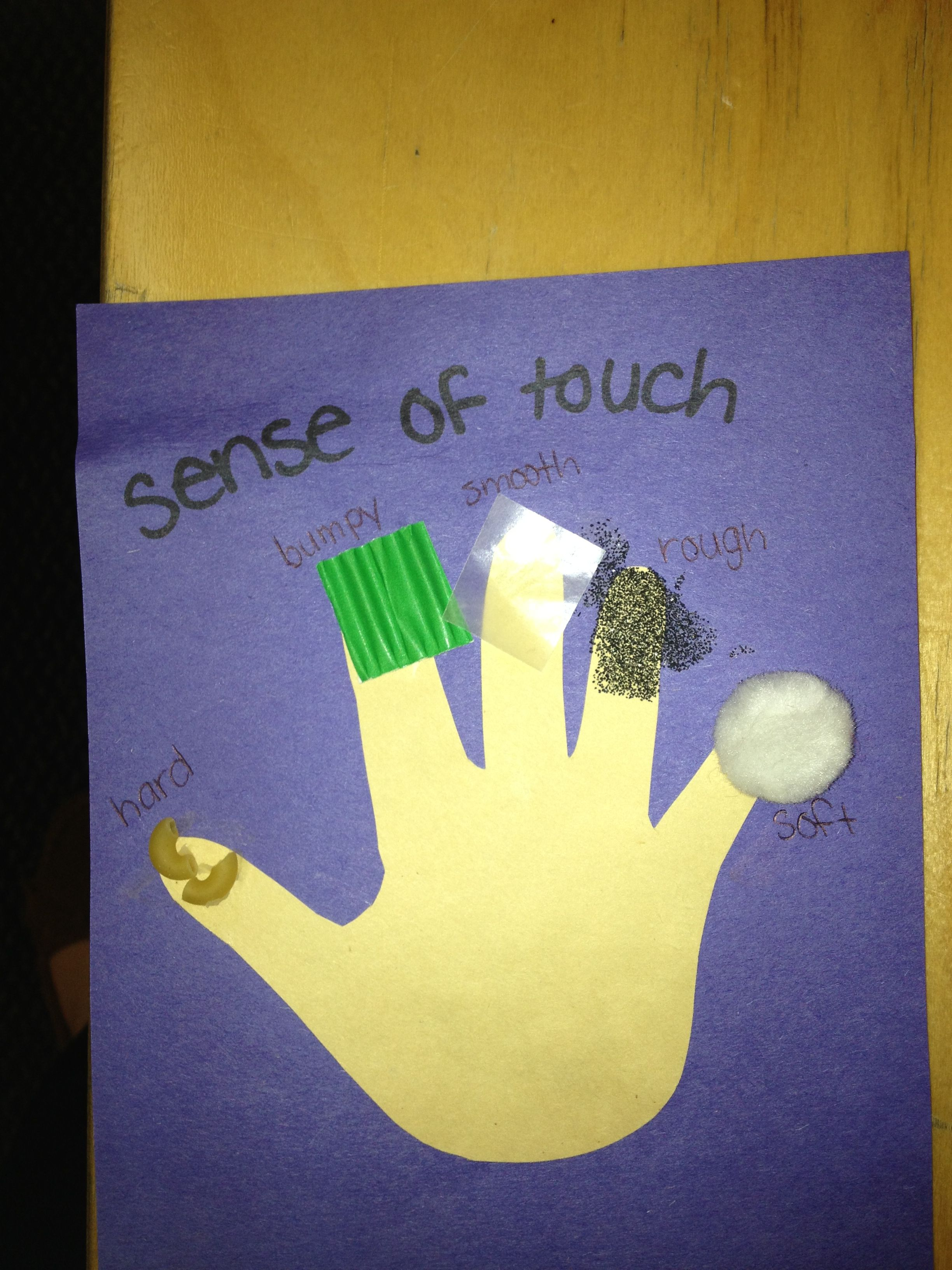5 Senses Craft All Different Textures Etc On Each Finger