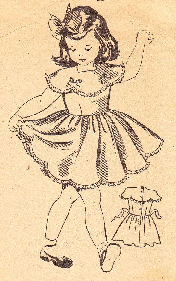 Vintage 1940s Girls Party Dress With Scalloped Edges Audrey Lane Mail Order Sewing Pattern No 2431 Size 4 Motif Vintage Mode Vintage Illustration Filles Vintage
