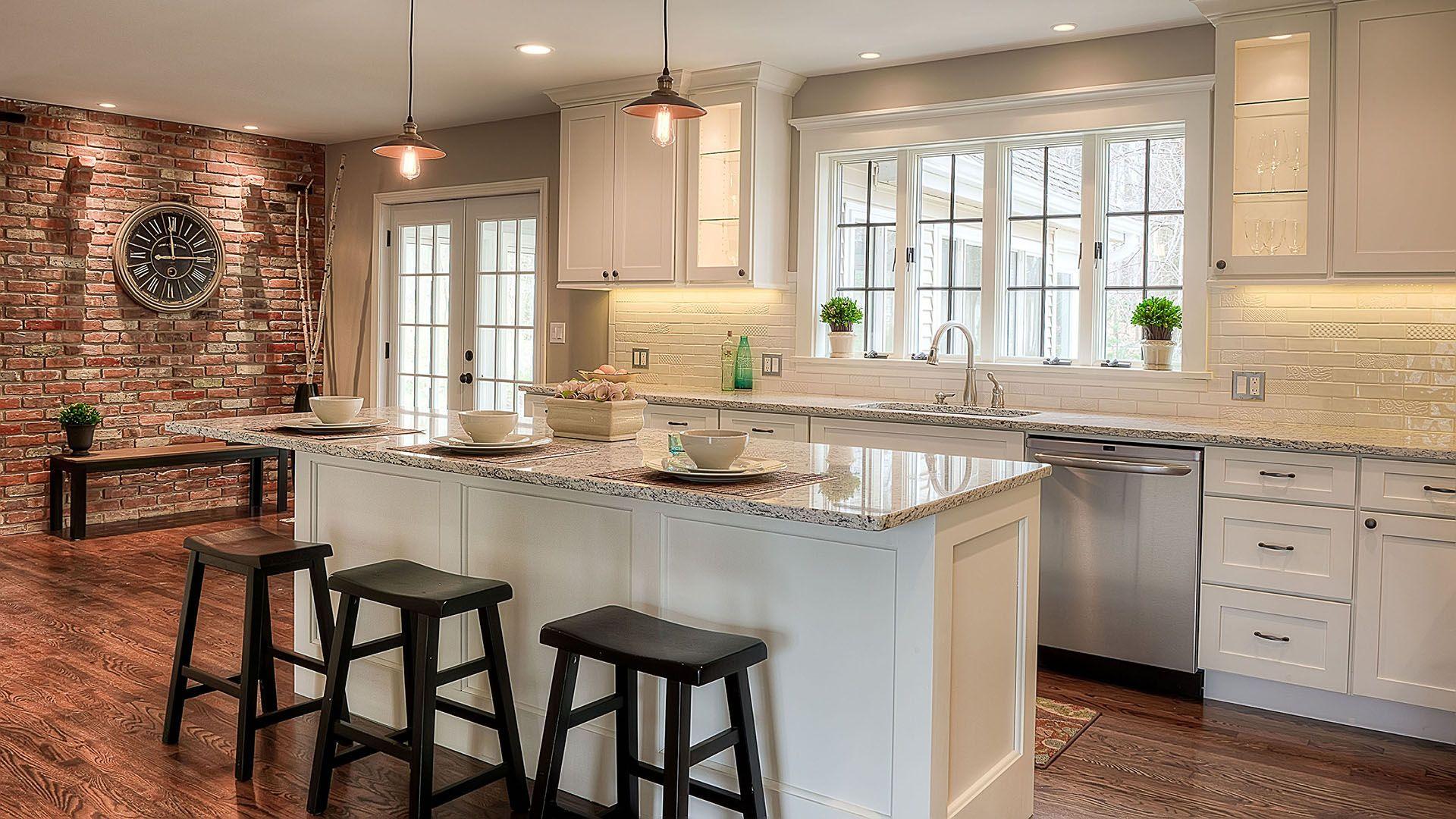 Kitchen With Counter Depth Wide Windows Brick Wall Kitchen