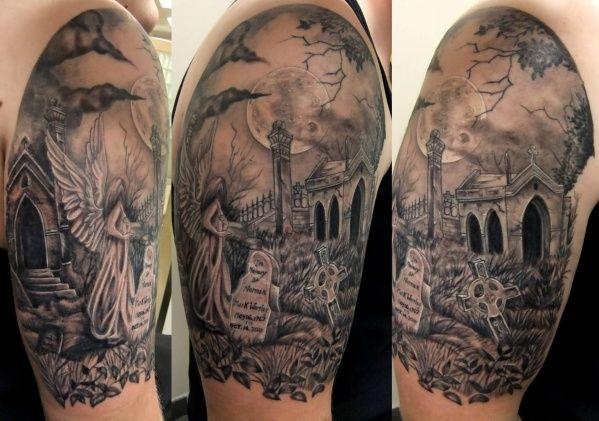 Graveyard Scene Tattoo Graveyard Tattoo Tattoos Sleeve Tattoos