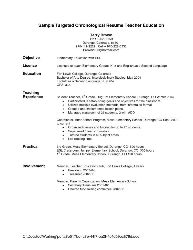 preschool resume sample teacher