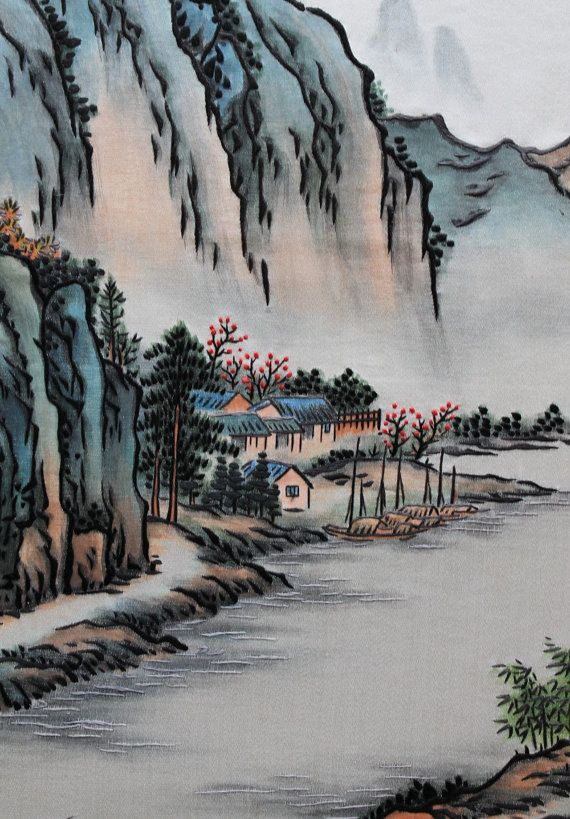 Vintage Oriental Embroidery Watercolor Painting On Silk Silk