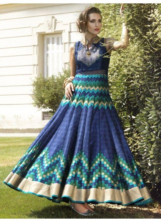 ccbe7a1b1b89c2 New Blue Pure Bhagalpuri Printed Anarkali Suit #Latest #designer #fancy  #attractive