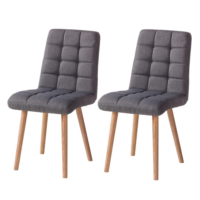 Morteens Möbel polsterstuhl doskie 2er set webstoff eiche massiv