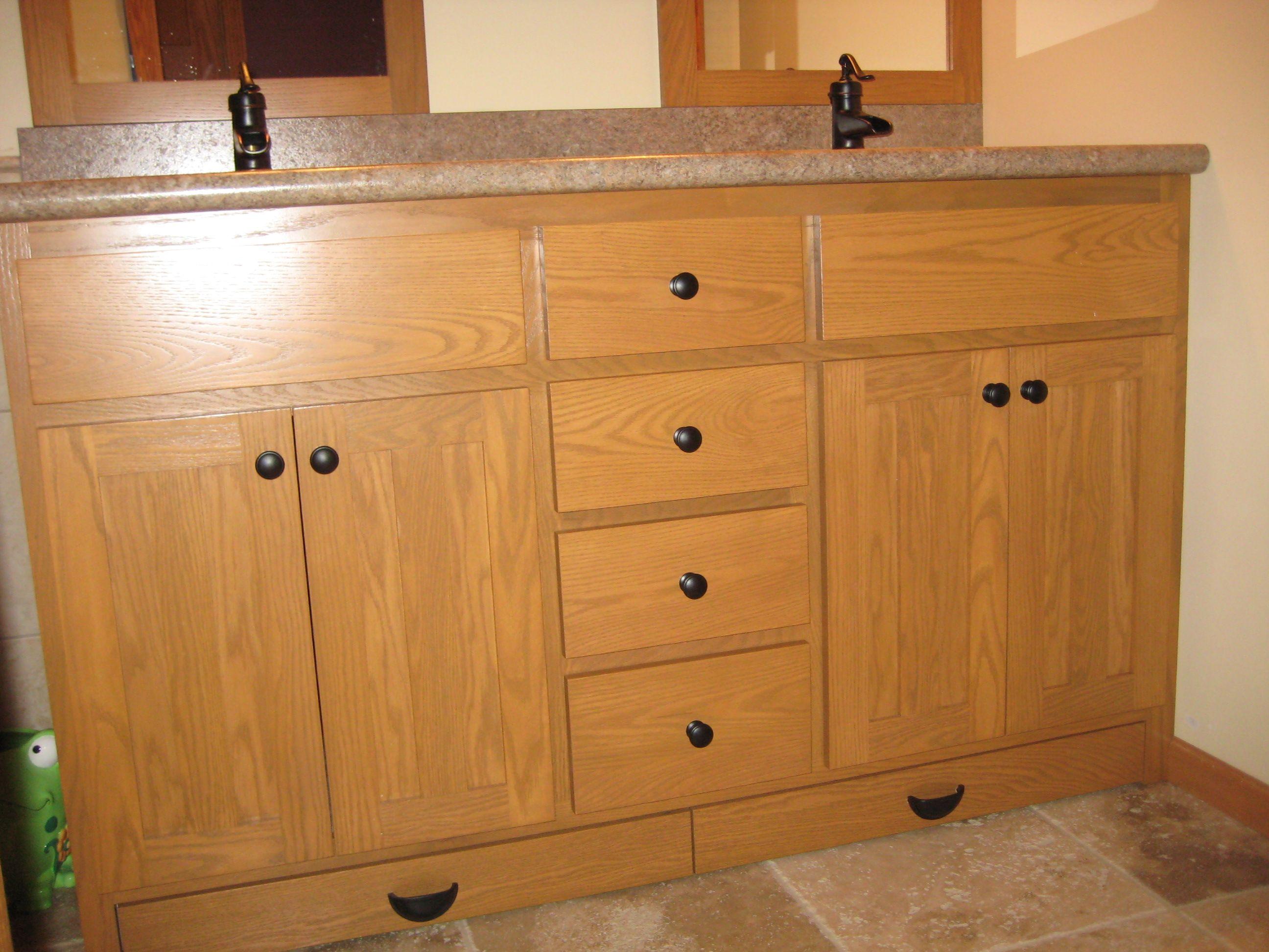 Double Sink Oak Vanity