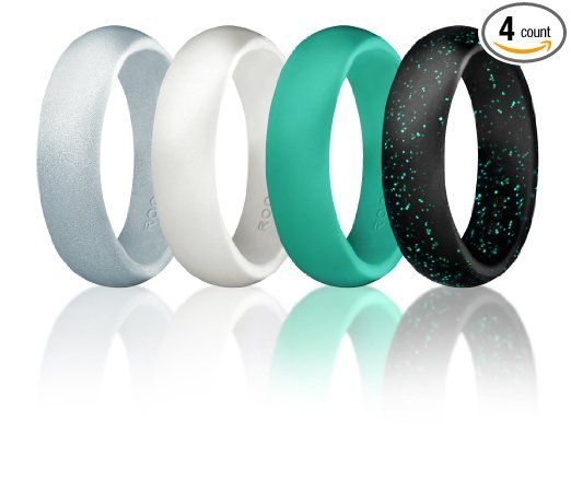 Silicone Wedding Ring For Women By ROQ, Set of 4 Silicone Rubber ...