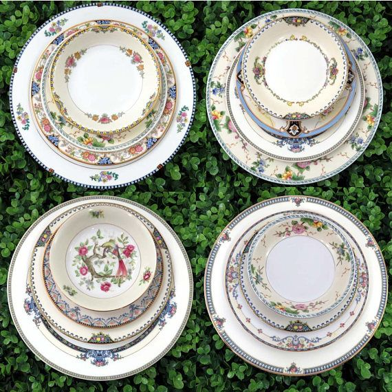 Art Deco Mismatched Dinnerware Set ~ Service for 4 ~ Vintage Fine China Pieces ~ Dinner Salad Bread Plates Bowls ~ : mismatched dinnerware sets - pezcame.com