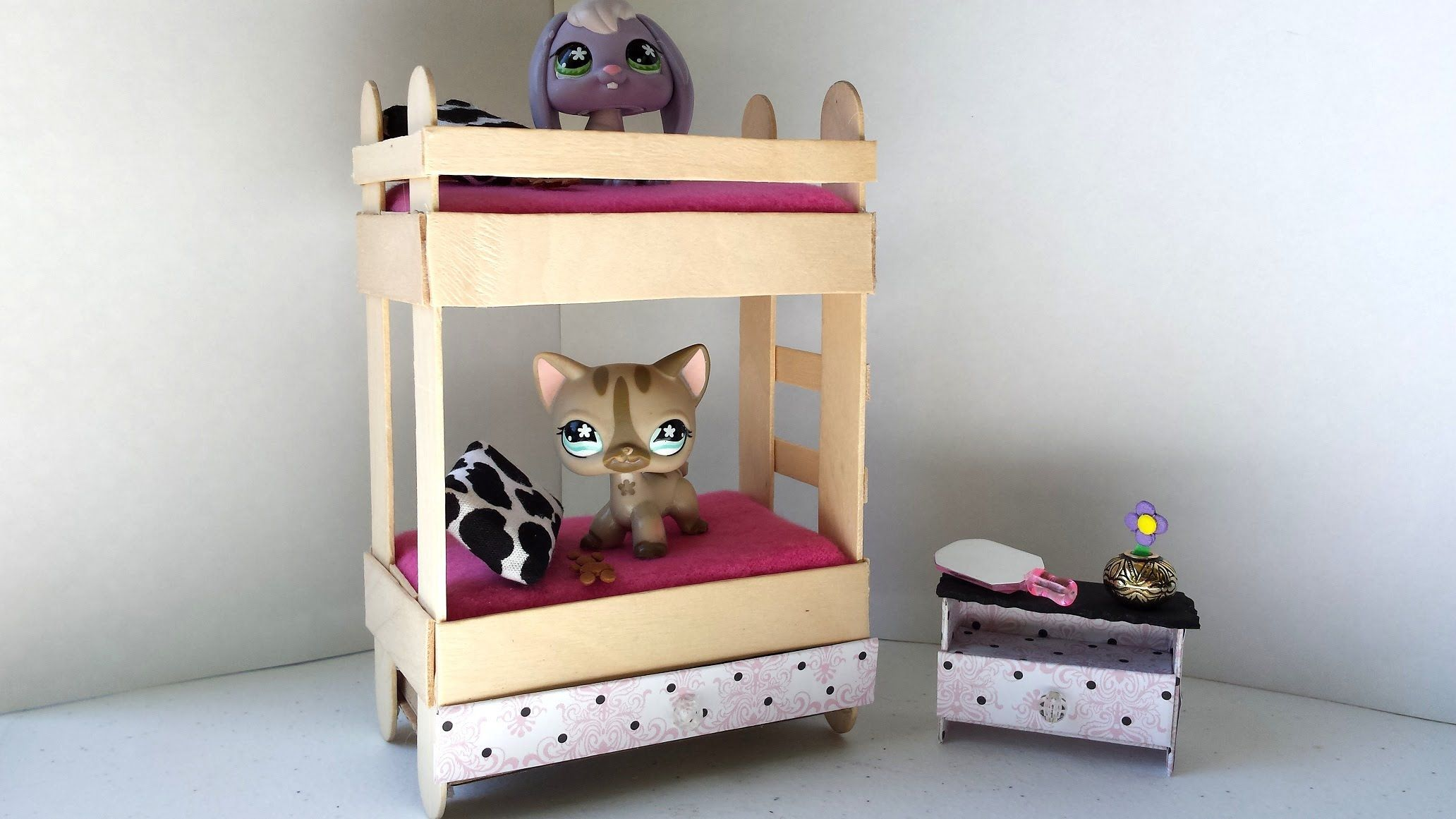 How To Make A Tiny Bunk Bed With Drawer For Lps Littlest Pet Doll