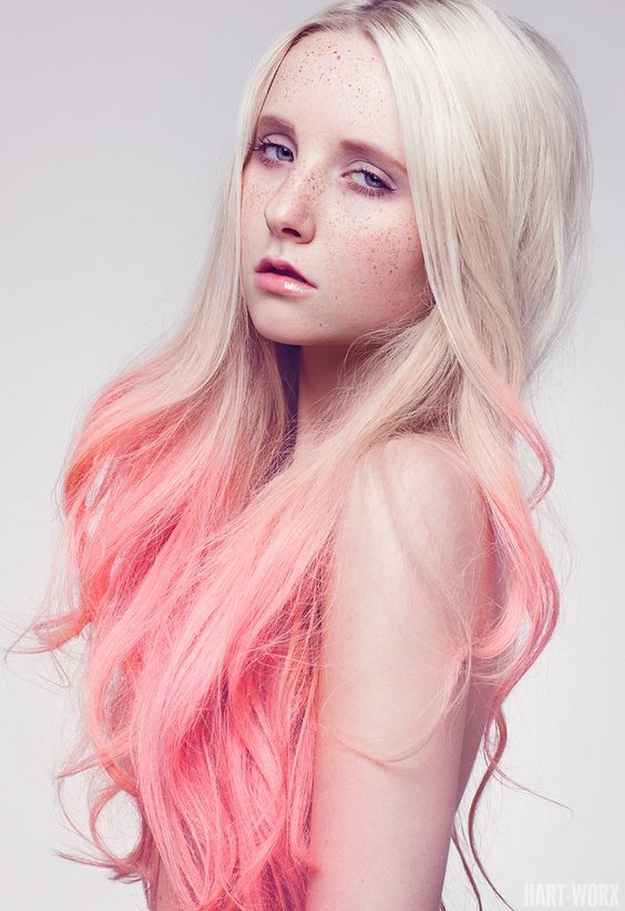 Platinum Blonde Hair With Light Salmon Champagne Pink Peach Tips Ombré Longhair Hairstyle Haircolor
