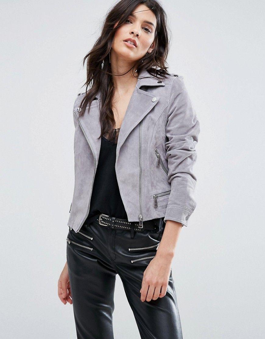 Vero Moda Real Suede Biker Jacket - Grey. Biker jacket by