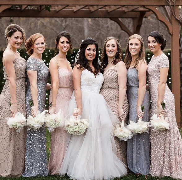 Greys Blues And Beige Create The Perfect Color Scheme For Your Bridesmaids Different Bridesmaid Dresses Wedding Bridesmaid Dresses Silver Bridesmaid Dresses