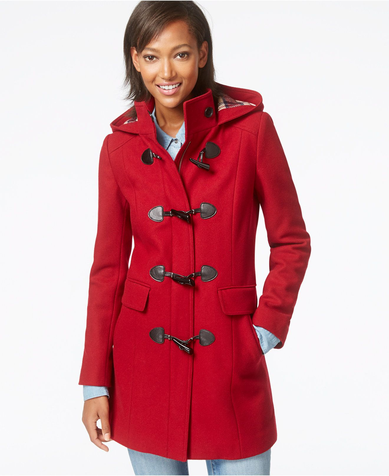 Tommy Hilfiger Plaid-Trim Wool Duffle Coat - Coats - Women ...