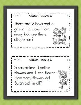 Math Task Cards for First Graders Freebie - Word Problems ...