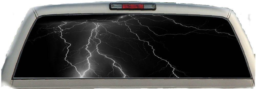 Lightning Black X Rear Window Graphic Tint Truck Stickers - Chevy rear window decals trucksharleydavidson rear window graphic decal lightning