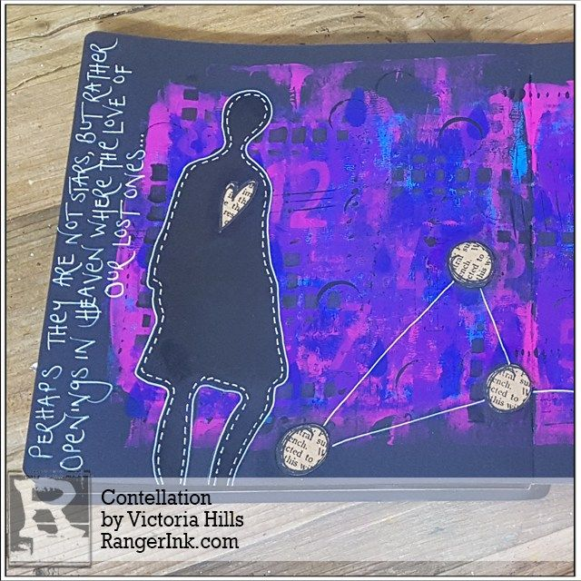 Hi, it's Victoria…I'm really looking forward to sharing my 'Constellation' journal page with you. There were a few things that influenced this page…I love using silhouettes – particularly whe…