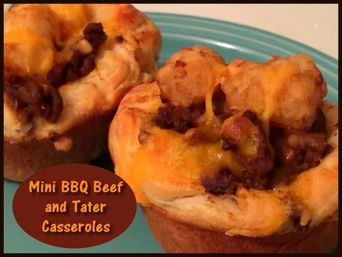 Mini BBQ Beef and Tater Casseroles  http://www.momspantrykitchen.com/mini-bbq-beef-and-tater-casseroles.html