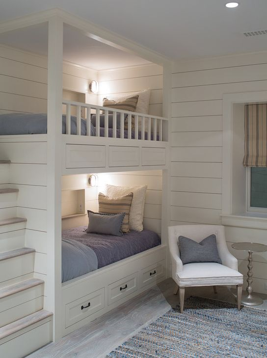 This Is A Really Cute Color Scheme For Bunk Beds I Like The Drawers For Storage And The Lighting Bunkbeds Bunk Beds Built In Bunk Bed Designs Bedroom Design