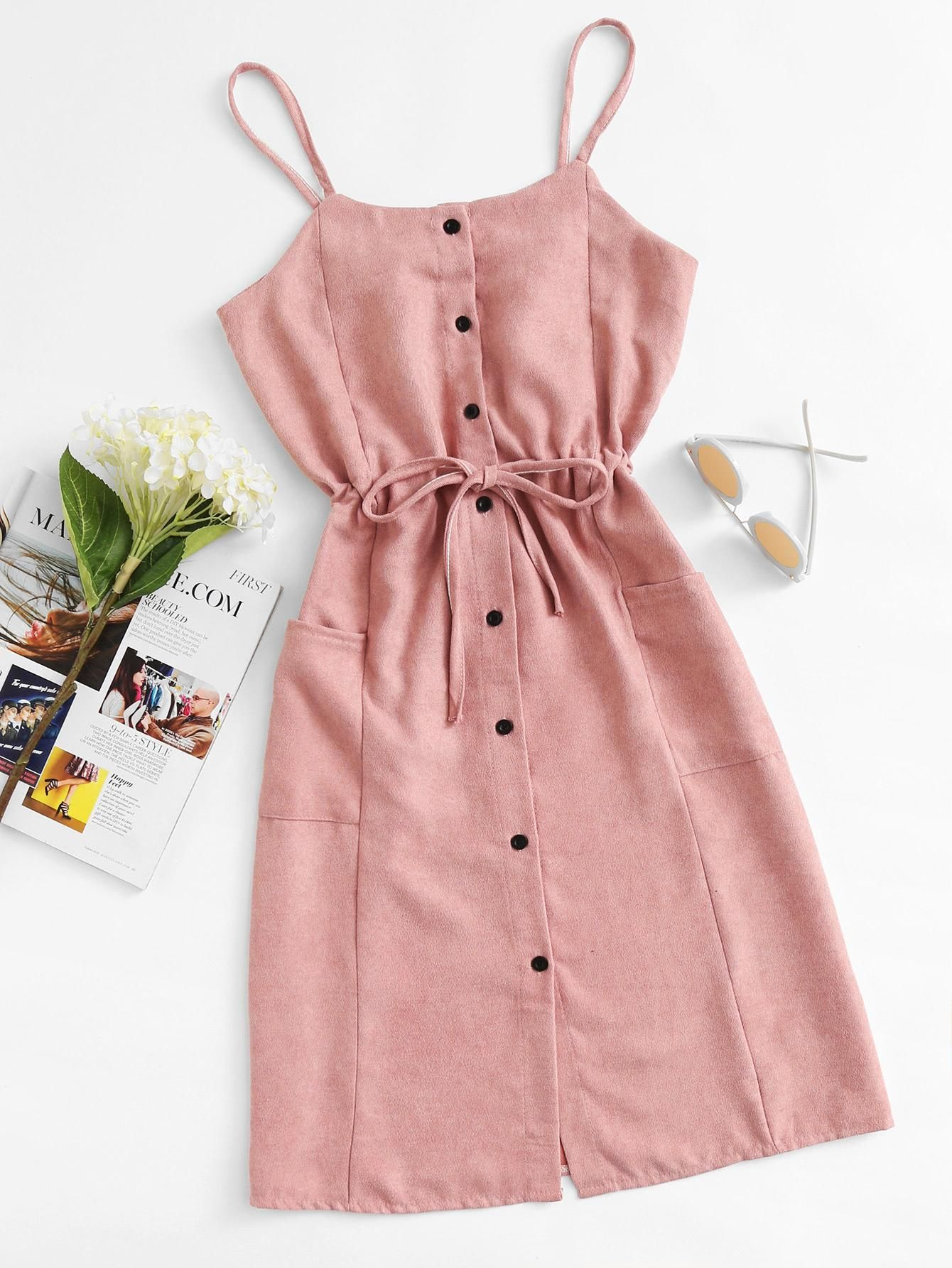 Single breasted drawstring waist pocket side dress pinterest