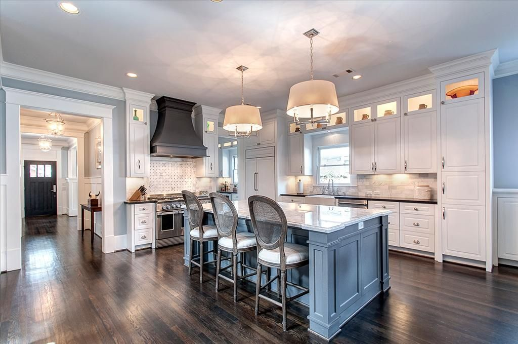 Gourmet Kitchen Boasts A Carrrera Marble Island, Black Honed Granite With  Marble Subway Tile Backsplash. Appliances Include A Double Oven, ...
