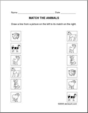 free primary animal worksheets worksheet matching animals prek primary b w preview 1. Black Bedroom Furniture Sets. Home Design Ideas