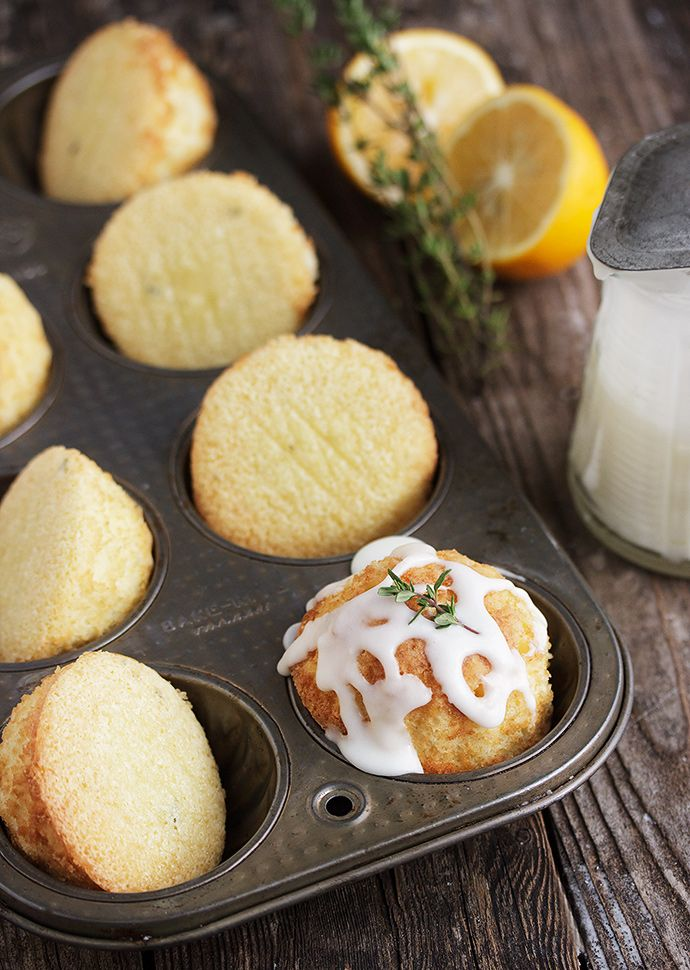 Glazed Lemon and Thyme Olive Oil Cakes #oliveoils