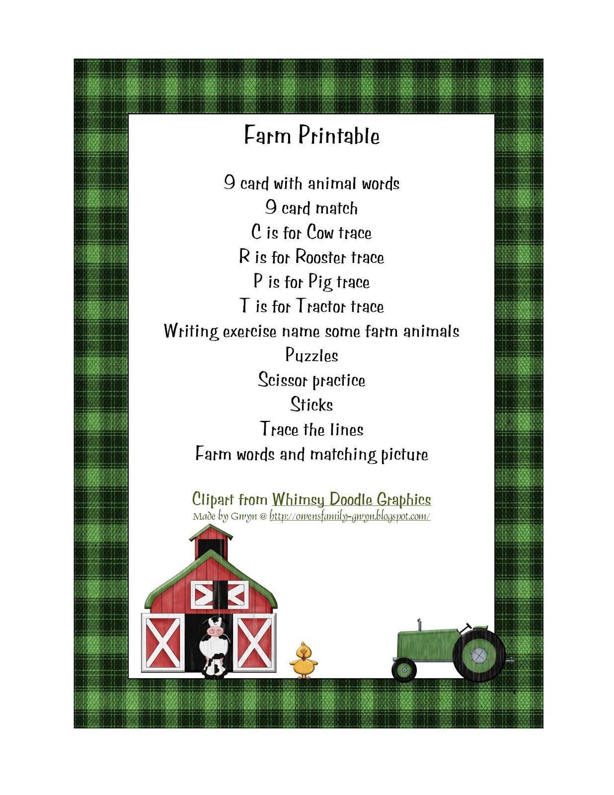 Preschool Printables Farm