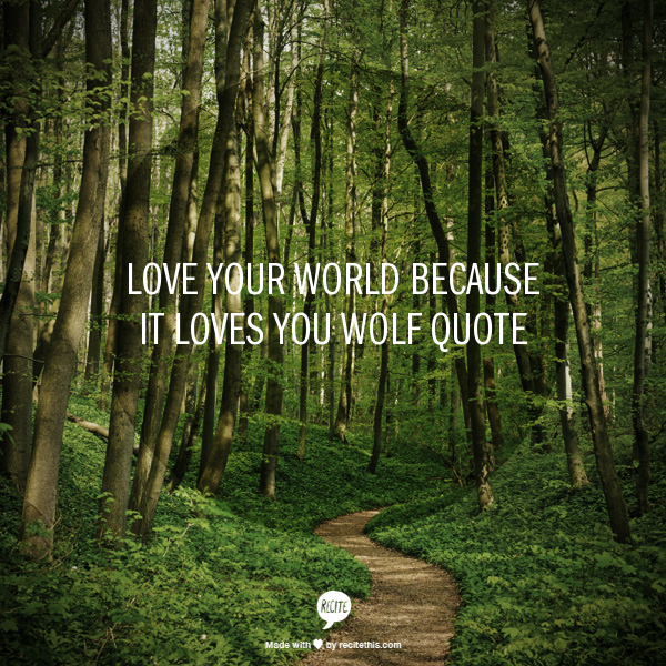 Love your world because it loves you  wolf quote
