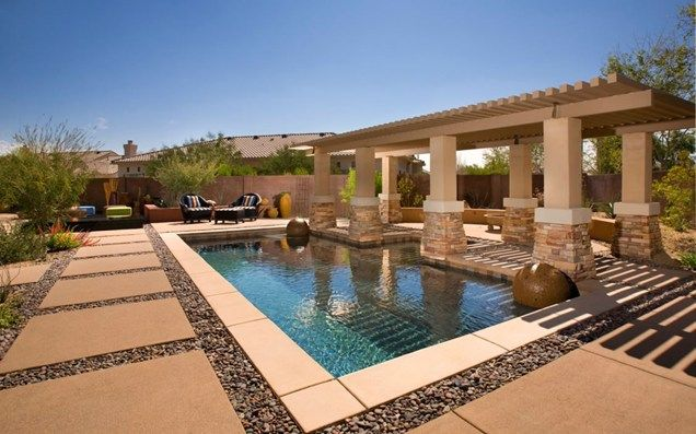 Poolside pergola swimming pool bianchi design scottsdale for Pool design tucson