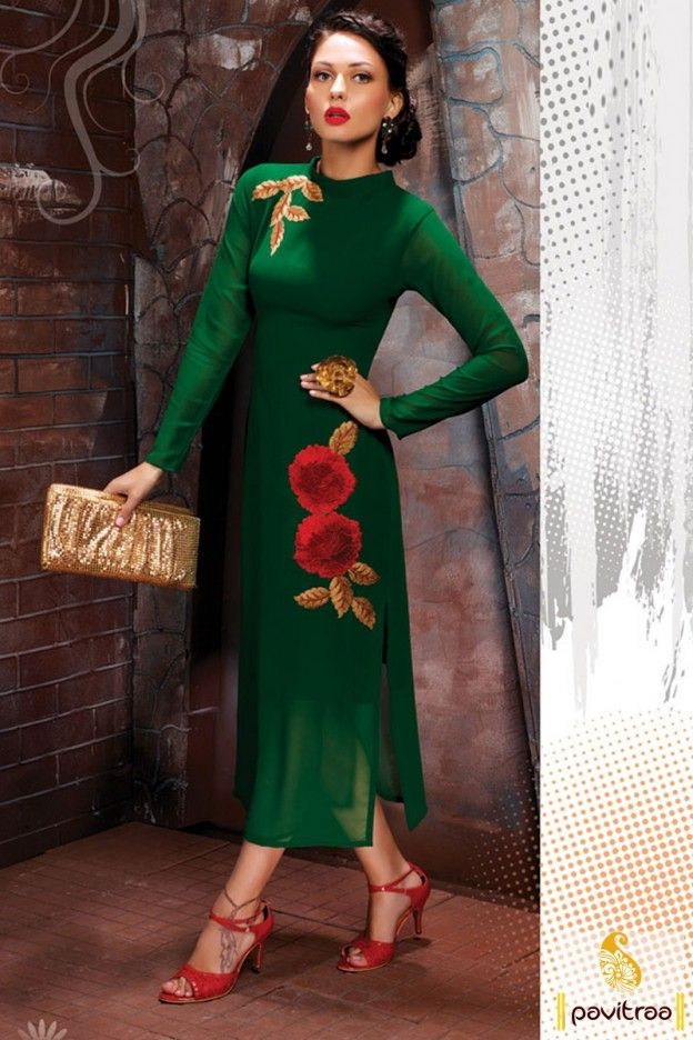 fbc880eef Indo western style green color georgette straight cut designer kurti tunic  for party. Buy online