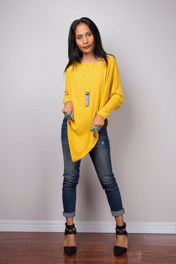 Yellow Sweater, Long sleeve tunic, Yellow Pullover, Poncho sweater ...