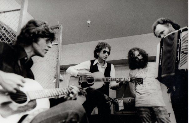 Robbie Robertson, Bob Dylan, Richard Manuel and Garth Hudson