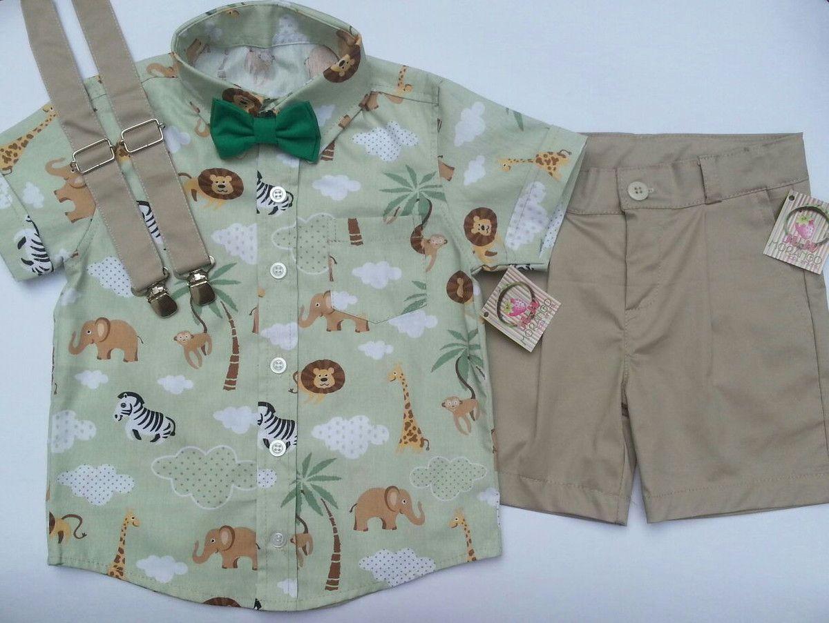 985bf0ee9e Conjunto contendo  Camisa manga curta 100% algodao estampa safari verde  Bermuda em sarja na