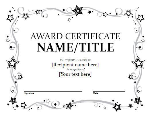 Award Certificate Template Award Certificates Awards Certificates Template Free Certificate Templates