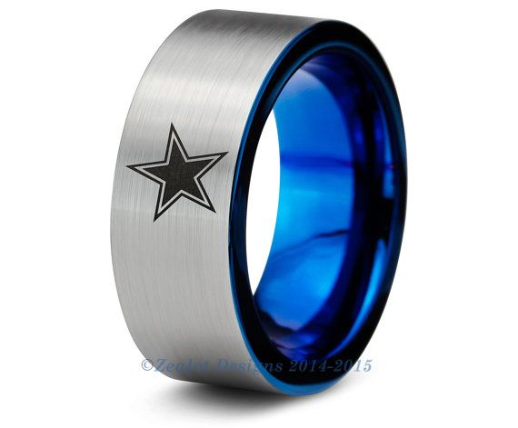 Dallas Cowboys Blue Tungsten Wedding Band Ring Mens Womens Brushed Pipe Cut NFL Sports Fan Texas