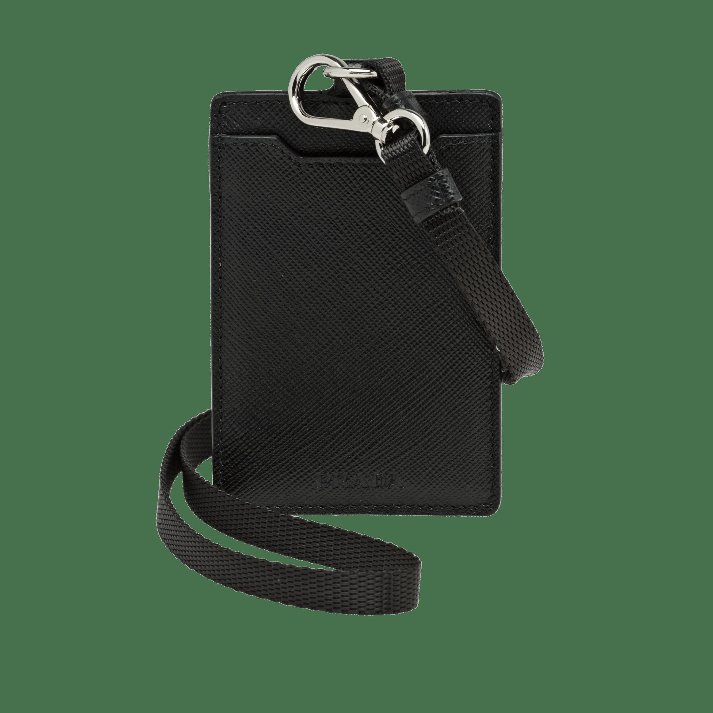 8d5d9c3e720e56 Saffiano Leather Badge Holder BLACK Prada | I.D. Holder | Badge ...