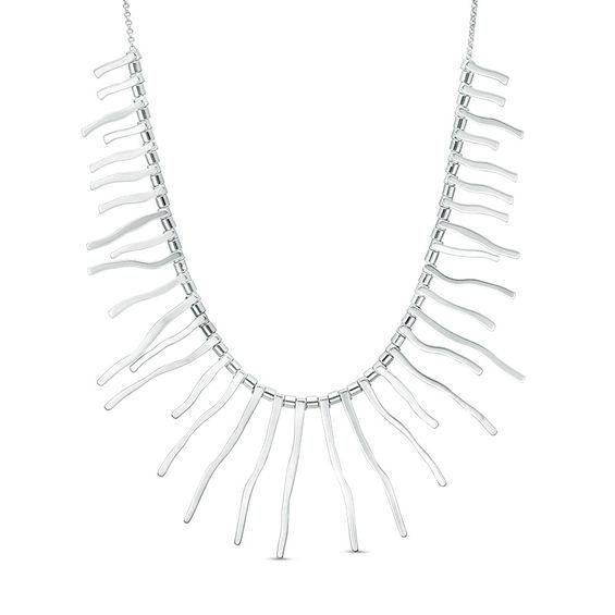 Zales Fringe Necklace in Sterling Silver 6Ba9X