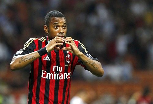 Robinho celebrating his goal against Cagliari (1/9/13)