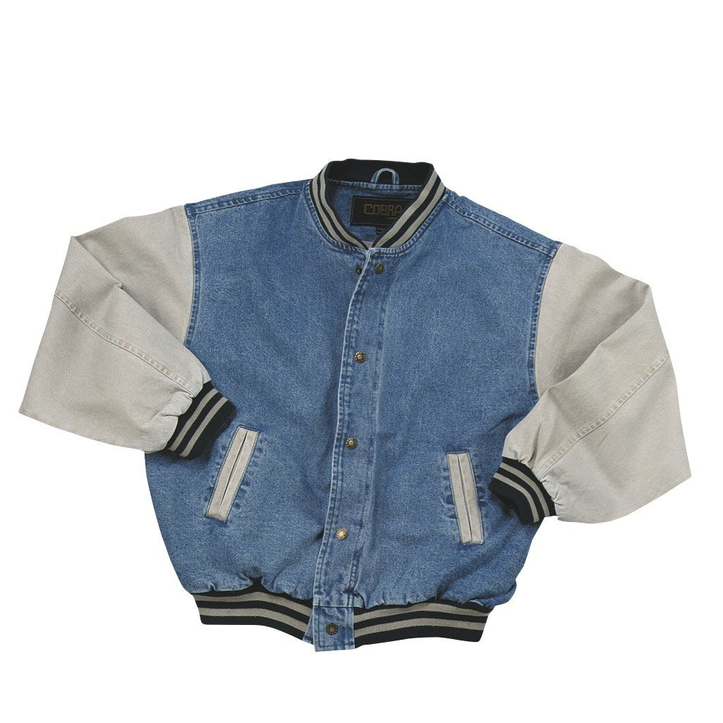 Cotton Washed Vintage Denim Varsity Jacket With Khaki Sleeves Denim Fit Vintage Jacket Outfit Vintage Denim Jacket Varsity Jacket