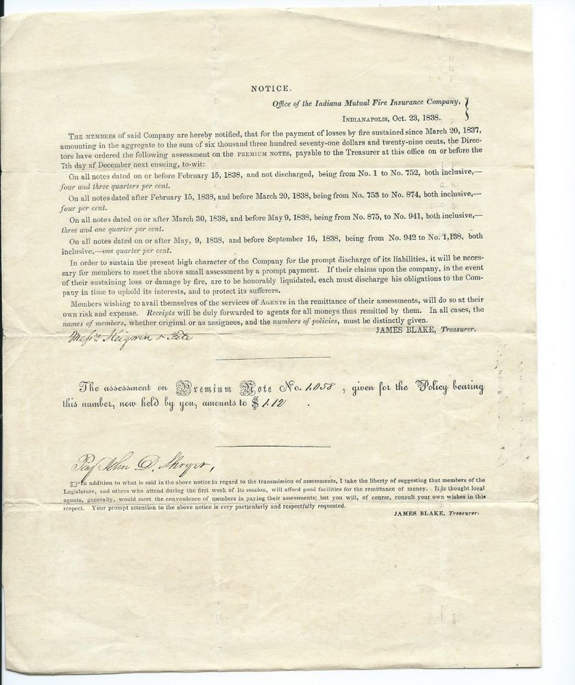1838 Indiana Mutual Fire Insurance Company Document For